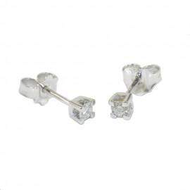 Σκουλαρίκια λευκόχρυσα Κ18 μονόπετρα με φυσικά διαμάντια SK10175