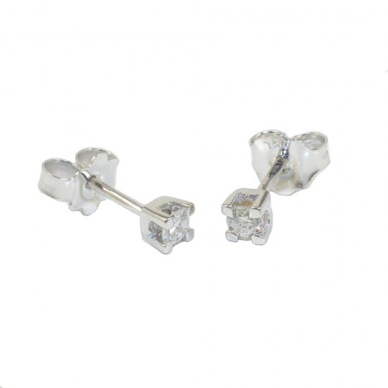 White gold earrings K18 solitaire with natural diamonds  SK10175