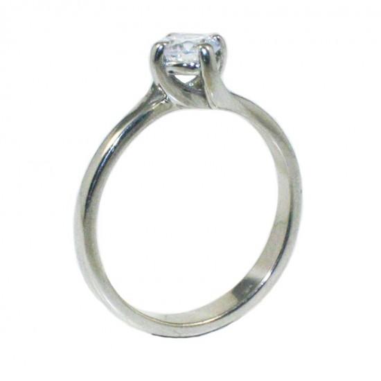 Δαχτυλίδι ασημένιο μονόπετρο με λευκό ζιργκόν με σχέδιο την φλόγα 251142