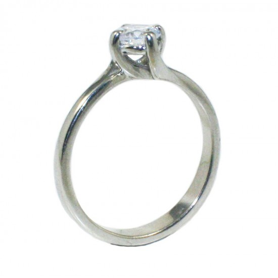Sterling silver 925 solitaire ring with white zircon with flame design  251142