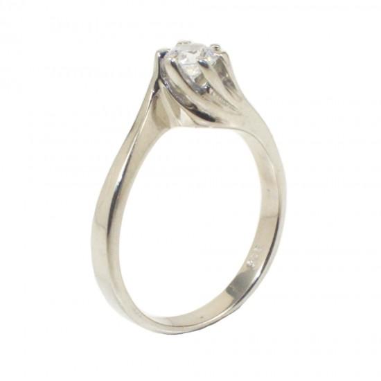 Δαχτυλίδι από ατόφιο ασήμι 925 μονόπετρο με λευκό ζιργκόν και σχέδιο την φλόγα 226133