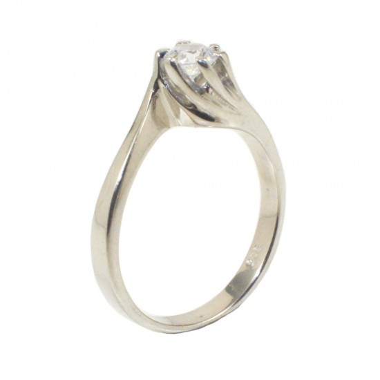 Sterling silver 925 ring solitaire with white zircon and flame design  226133