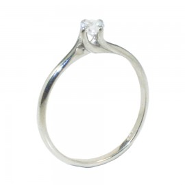 Sterling silver 925 solitaire ring with white zircon and flame design  10776