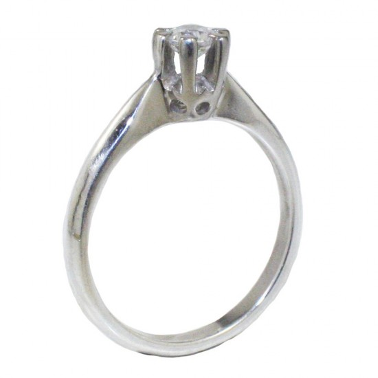 Sterling silver 925 solitaire ring with white zircon  241142