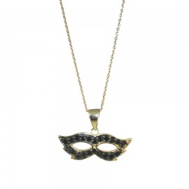 Silver necklace with gold plated mask design and black spinel Chain length 40-45cm