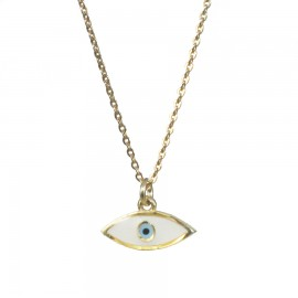 Sterling silver necklace gold plated with mother of pearl eye design Pendant dimensions 6X13 mm