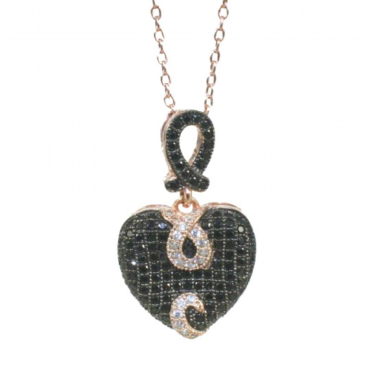 Sterling silver necklace with heart design with white black zircons and pink gold plating