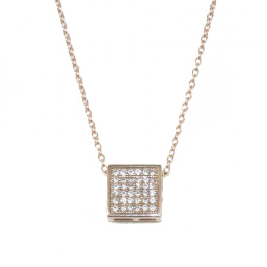 Sterling silver necklace with square design white zircons and pink gold plated  20911