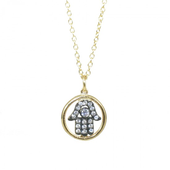 Sterling silver necklace gold plated with white zircon the hand of good luck  S1994