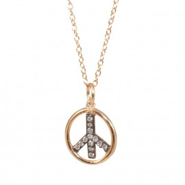 Sterling silver necklace with rose gold plating and white zircons with the mark of Peace  S1993