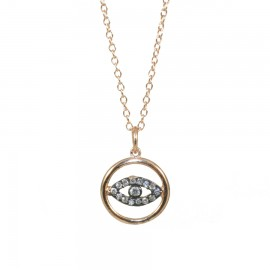 Sterling silver necklace with pink gold plating and white zircons with eye  S1996