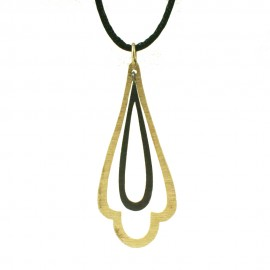 Necklace sterling silver gold plated handmade with black platinum and silk cord