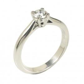 Δαχτυλίδι λευκόχρυσο Κ18 μονόπετρο με φυσικό διαμάντι 335510
