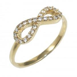Δαχτυλίδι χρυσό Κ14 με σχέδιο το άπειρο και λευκά ζιργκόν 15514