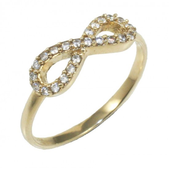 Gold ring K14 with infinity design and white zircons  15514