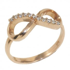 Rose gold ring K9 with infinity design and white zircons  2432