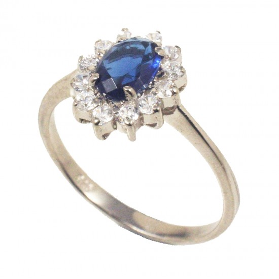 Sterling silver solitaire ring with rosette in blue and white zircons  197194