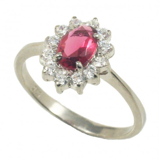 Sterling silver solitaire ring with rosette with red and white zircons  201194
