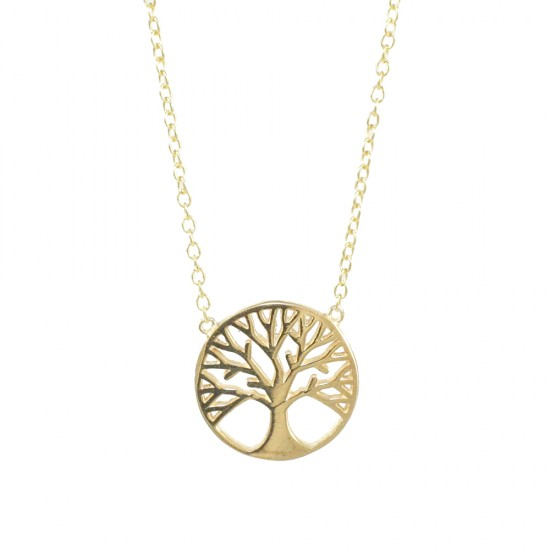 Sterling silver necklace gold plated with the tree of life  197123