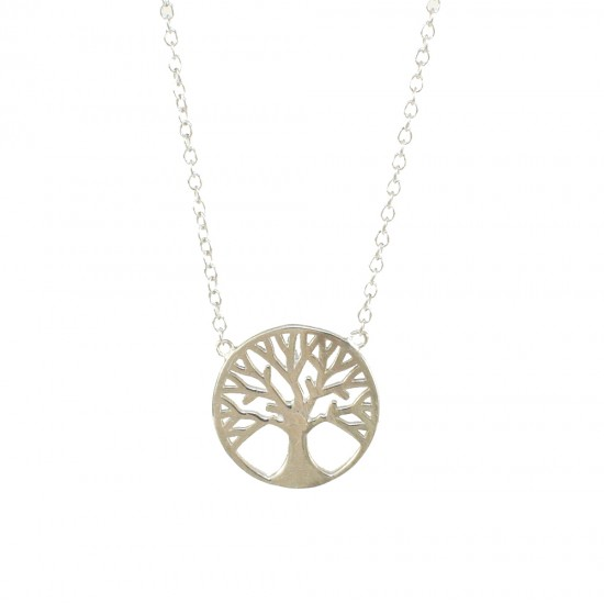 Sterling silver necklace with the tree of life platinum and polished  199123