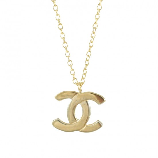 Sterling silver necklace gold plated with chanel design  15711