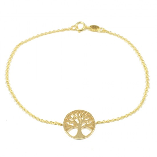 Sterling silver bracelet gold plated with the tree of life  15011