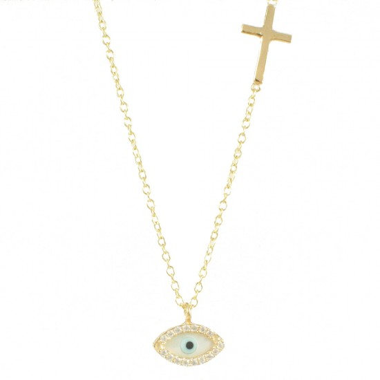 Silver bracelet gold-plated with eye design with white zircon and Cross Chain length 40-45cm 1189L1