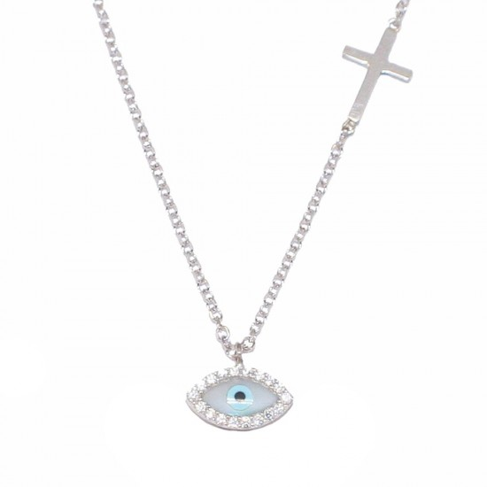 Silver necklace with eye pattern with white zircon and Cross Length Necklace 40-45cm 1182L1