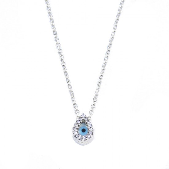Sterling silver necklace with drop with white zircon and ivory  1427L1