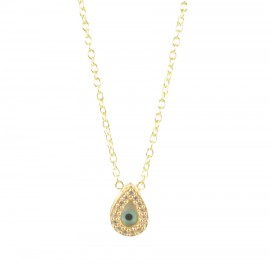 Sterling silver necklace gold plated with eye drop design with white zircons and mother of pearl  168123