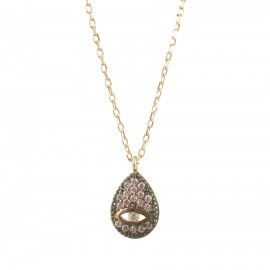 Sterling silver necklace with eye with drop design with pink zircon and pink gold plating  K052306