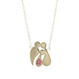 Sterling silver necklace with the family with a little girl with red zircons  209128