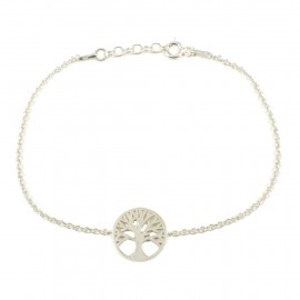 Sterling silver bracelet platinum and polished with the tree of life  19311