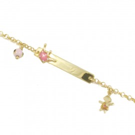 Children's sterling silver bracelet gold plated for baptism with crown design with enamel and eye