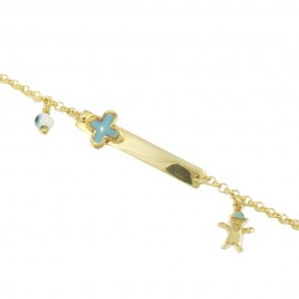 Children's silver bracelet gold-plated for christening and designs with enamel