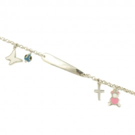 Silver baby bracelet platinum enamel and mother of pearl elements