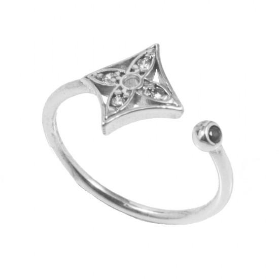 Δαχτυλίδι ασημένιο chevalier λουστραριστό με λευκά ζιργκόν S2874