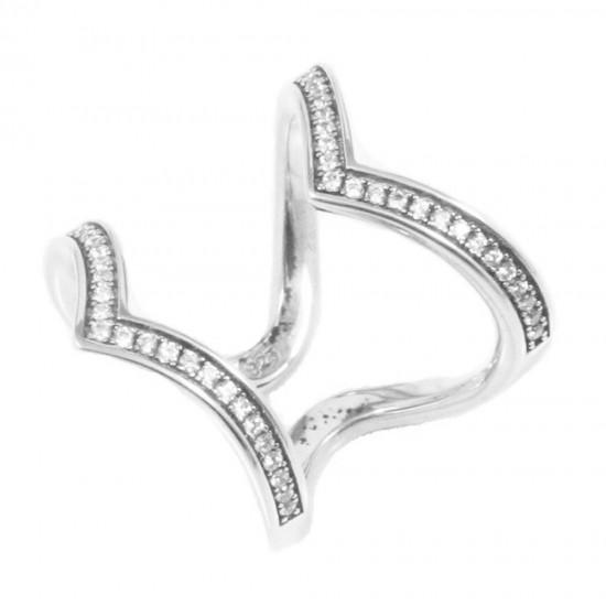 Δαχτυλίδι ασημένιο με διπλό V και λευκά ζιργκόν DA2064