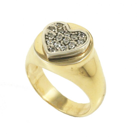 Sterling silver chevalier ring with heart on the head with white zircons  DA1007