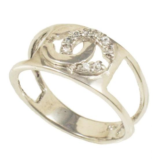 Δαχτυλίδι ασημένιο με σχέδιο chanel με λευκά ζιργκόν 5409W