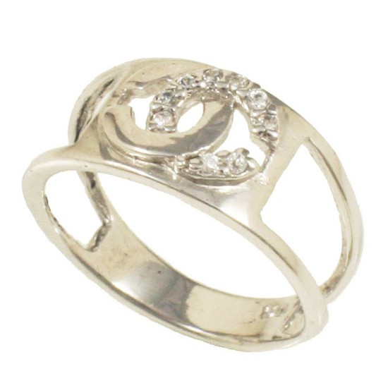 Sterling silver chanel design ring with white zircon and platinum No.54 5409W
