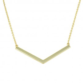 Sterling silver necklace with V-shaped bar gold plated S1147
