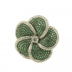 Flower ring made of silver with European AAA zircon quality in white and green color 1014050