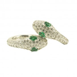 Silver snakeye earrings with European AAA quality zircon in white and green color  5020