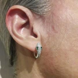Σκουλαρίκια snakeye από ασήμι με ευρωπαϊκά ΑΑΑ ποιότητας ζιργκόν σε λευκό και πράσινο χρώμα 5020