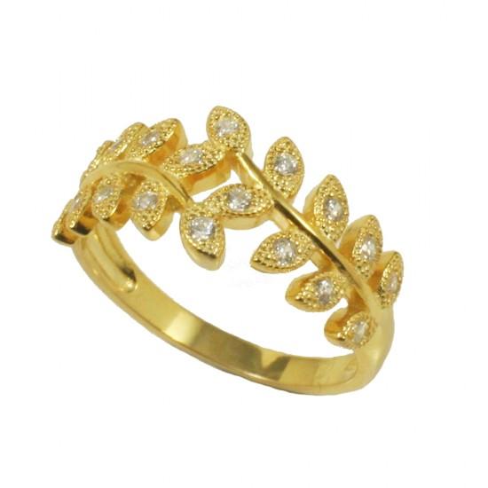 Δάφνη επίχρυσο δαχτυλίδι από ασήμι με ΑΑΑ ποιότητας ζιργκόν σε λευκό χρώμα 3101170