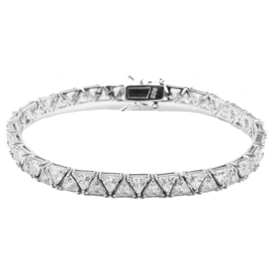 Silver Tennis bracelet with AAA quality European zircons in white  1535050