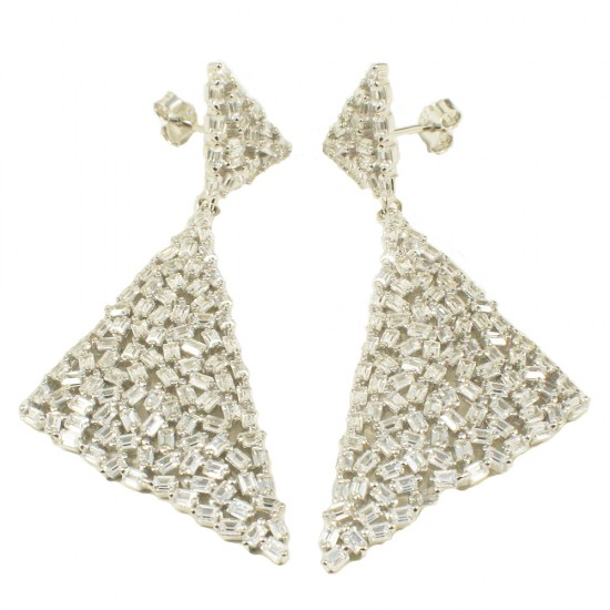 Silver triangles earrings with European AAA quality frosted type zircon in white Color 1224880