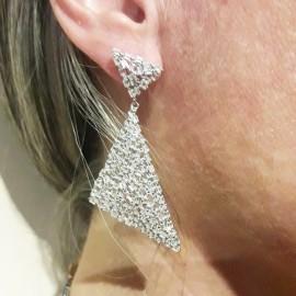 Σκουλαρίκια triangles από ασήμι με ευρωπαϊκά ΑΑΑ ποιότητας ζιργκόν σε λευκό χρώμα 1224880
