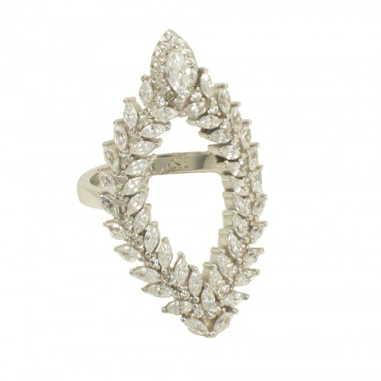 Silver laurel wreath ring with European AAA quality white zircons  7028